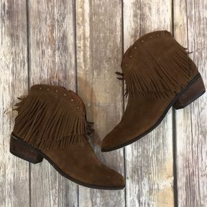 Minnetonka Fringed Suede Booties